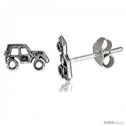 Tiny Sterling Silver SUV Stud Earrings 5/16 in