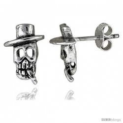 Tiny Sterling Silver Skull w/ Top Hat & Cigar Stud Earrings 7/16 in