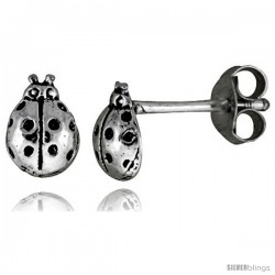 Tiny Sterling Silver Lady Bug Stud Earrings 5/16 in