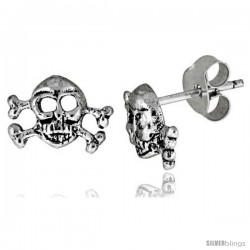 Tiny Sterling Silver Skull and Crossbones Stud Earrings 5/16 in