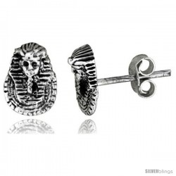 Tiny Sterling Silver King Tut's Mask Stud Earrings 3/8 in