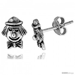 Tiny Sterling Silver Clown Face Stud Earrings 5/16 in
