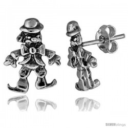 Tiny Sterling Silver Clown Stud Earrings 9/16 in