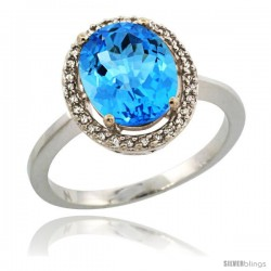 Sterling Silver Diamond Halo Natural Swiss Blue Topaz Ring 2.4 carat Oval shape 10X8 mm, 1/2 in (12.5mm) wide