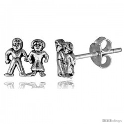 Tiny Sterling Silver Boy-Girl Stud Earrings 5/16 in