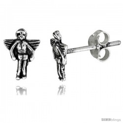 Tiny Sterling Silver Angel Stud Earrings 3/8 in