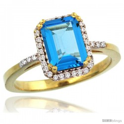 10k Yellow Gold Diamond Swiss Blue Topaz Ring 1.6 ct Emerald Shape 8x6 mm, 1/2 in wide -Style Cy904129