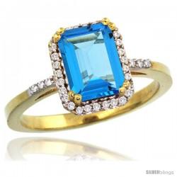 10k Yellow Gold Diamond Swiss Blue Topaz Ring 1.6 ct Emerald Shape 8x6 mm, 1/2 in wide -Style Cy904129