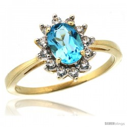 10k Yellow Gold Diamond Halo Swiss Blue Topaz Ring 0.85 ct Oval Stone 7x5 mm, 1/2 in wide