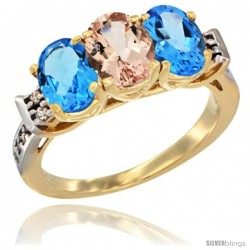 10K Yellow Gold Natural Morganite & Swiss Blue Topaz Sides Ring 3-Stone Oval 7x5 mm Diamond Accent
