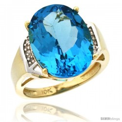 10k Yellow Gold Diamond Swiss Blue Topaz Ring 9.7 ct Large Oval Stone 16x12 mm, 5/8 in wide