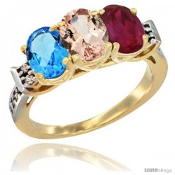 10K Yellow Gold Natural Swiss Blue Topaz, Morganite & Ruby Ring 3-Stone Oval 7x5 mm Diamond Accent