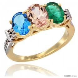 10K Yellow Gold Natural Swiss Blue Topaz, Morganite & Emerald Ring 3-Stone Oval 7x5 mm Diamond Accent