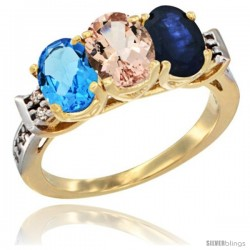 10K Yellow Gold Natural Swiss Blue Topaz, Morganite & Blue Sapphire Ring 3-Stone Oval 7x5 mm Diamond Accent