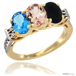 10K Yellow Gold Natural Swiss Blue Topaz, Morganite & Black Onyx Ring 3-Stone Oval 7x5 mm Diamond Accent