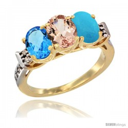 10K Yellow Gold Natural Swiss Blue Topaz, Morganite & Turquoise Ring 3-Stone Oval 7x5 mm Diamond Accent