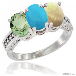14K White Gold Natural Green Amethyst, Turquoise & Opal Ring 3-Stone 7x5 mm Oval Diamond Accent