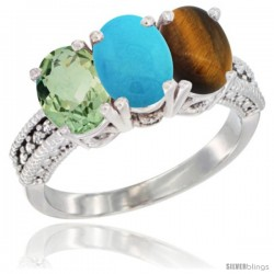 14K White Gold Natural Green Amethyst, Turquoise & Tiger Eye Ring 3-Stone 7x5 mm Oval Diamond Accent