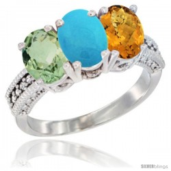 14K White Gold Natural Green Amethyst, Turquoise & Whisky Quartz Ring 3-Stone 7x5 mm Oval Diamond Accent
