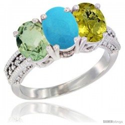 14K White Gold Natural Green Amethyst, Turquoise & Lemon Quartz Ring 3-Stone 7x5 mm Oval Diamond Accent