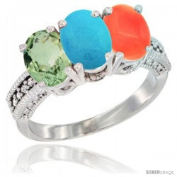 14K White Gold Natural Green Amethyst, Turquoise & Coral Ring 3-Stone 7x5 mm Oval Diamond Accent