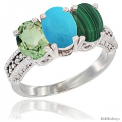 14K White Gold Natural Green Amethyst, Turquoise & Malachite Ring 3-Stone 7x5 mm Oval Diamond Accent