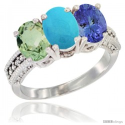 14K White Gold Natural Green Amethyst, Turquoise & Tanzanite Ring 3-Stone 7x5 mm Oval Diamond Accent