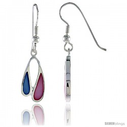 """Sterling Silver Freeform Pink & Blue Mother of Pearl Inlay Earrings, 11/16"""" (17 mm) tall"""