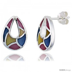 """Sterling Silver Pear-shaped Pink, Blue & Light Yellow Mother of Pearl Inlay Earrings, 11/16"""" (17 mm) tall"""