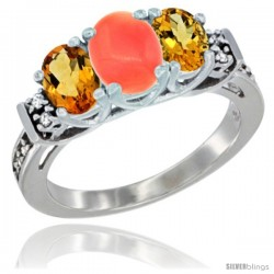 14K White Gold Natural Coral & Citrine Ring 3-Stone Oval with Diamond Accent