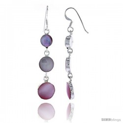 """Sterling Silver Graduated Circles Pink Mother of Pearl Inlay Earrings, 1 11/16"""" (43 mm) tall"""