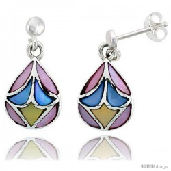 "Sterling Silver Pear-shaped Pink, Blue & Light Yellow Mother of Pearl Inlay Earrings, 9/16"" (15 mm) tall"