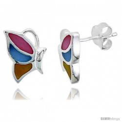 "Sterling Silver Half Butterfly Pink, Blue & Light Yellow Mother of Pearl Inlay Earrings, 9/16"" (15 mm) tall"