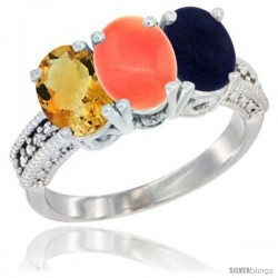 14K White Gold Natural Citrine, Coral & Lapis Ring 3-Stone 7x5 mm Oval Diamond Accent