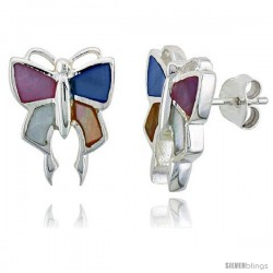 "Sterling Silver Butterfly Pink, Blue, Light Yellow & White Mother of Pearl Inlay Earrings, 5/8"" (15 mm) tall"