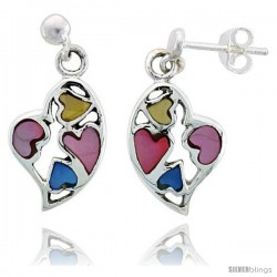 """Sterling Silver Heart Pink, Blue & Light Yellow Mother of Pearl Inlay Earrings, 11/16"""" (17 mm) tall"""