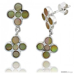 "Sterling Silver Floral Mother of Pearl Inlay Earrings, 1 1/8"" (28 mm) tall"