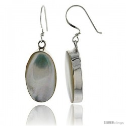 "Sterling Silver Oval Mother of Pearl Inlay Earrings, 7/8"" (22 mm) tall"