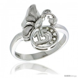 Sterling Silver Quinceanera 15 ANOS Butterfly Ring CZ stones Rhodium Finished, 1/2 in wide