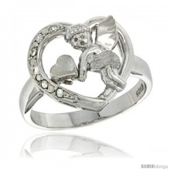 Sterling Silver Cupid Heart Ring CZ stones Rhodium Finished, 5/8 in wide