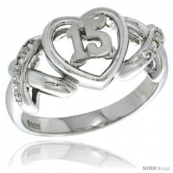 Sterling Silver Quinceanera 15 Anos Ring w Hearts and Kisses CZ stones Rhodium Finished, 3/8 in wide