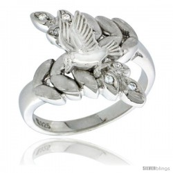 Sterling Silver Dove on Olive Branch Ring CZ stones Rhodium Finished, 13/16 in wide