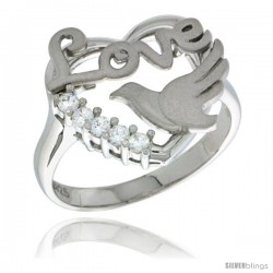 Sterling Silver Love Heart Dove Ring CZ stones Rhodium Finished, 5/8 in wide