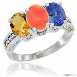14K White Gold Natural Citrine, Coral & Tanzanite Ring 3-Stone 7x5 mm Oval Diamond Accent