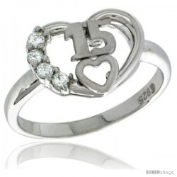 Sterling Silver Quinceanera 15 ANOS Heart Ring CZ stones Rhodium Finished, 7/16 in wide