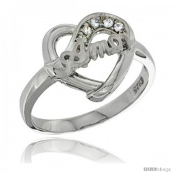 Sterling Silver AMOR Heart Ring CZ stones Rhodium Finished, 1/2 in wide