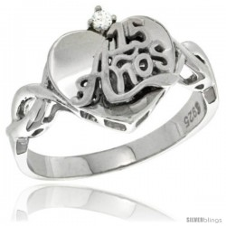 Sterling Silver Quinceanera 15 ANOS Heart Ring CZ stones Rhodium Finished, 15/32 in wide