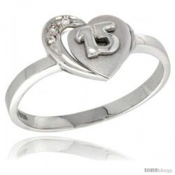 Sterling Silver Quinceanera 15 ANOS Heart Ring CZ stones Rhodium Finished, 7/16 in wide -Style Rzh115
