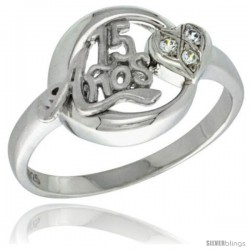 Sterling Silver Quinceanera 15 ANOS w/ Heart Ring CZ stones Rhodium Finished, 5/8 in wide