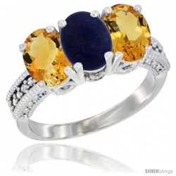 14K White Gold Natural Lapis & Citrine Sides Ring 3-Stone 7x5 mm Oval Diamond Accent
